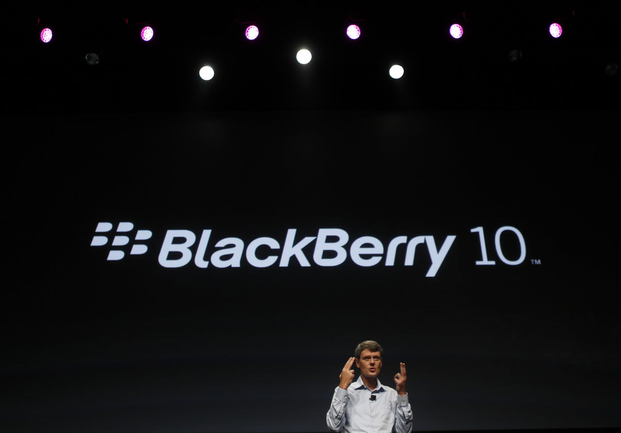 Research In Motion CEO Heins gestures while delivering his keynote address during the Blackberry Jam Americas in San Jose